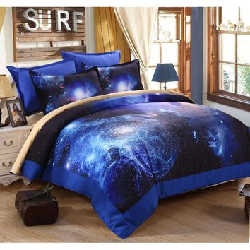 3D  Universe Outer Space printed  blue galaxy Bedding set  4pcs quilt /bed sheets / pillowcases luxury bedding sets