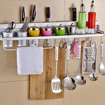 Aluminum Wall Kitchen Storage Spice Rack Shelf Utensil Seasoning Holder