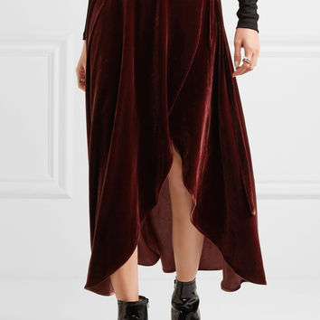 Reformation - Velvet wrap skirt