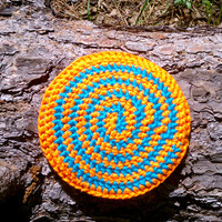 Crochet Frisbee HIPPIE FLYER - Bright Orange & Blue - Flying Disc