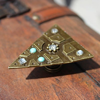 Drawer Knobs Triangle with With Crystals and Turquoise Stones in Brass (MK155)