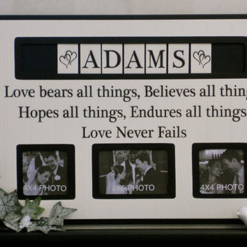 Personalized Family Name Photo Frame Custom Wedding Gift, Anniversary Love Father Mother Parents Quote Guest Book Frames Engagement - Black