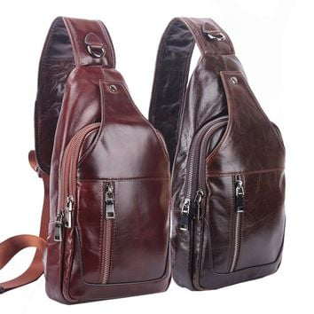 High Quality Men Oil Wax Genuine Leather Cowhide Travel Climb Sling Chest Pack Messenger Shoulder Cross Body Bag