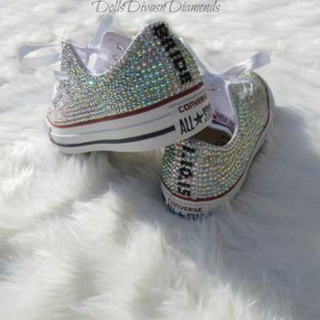 DCCK1IN bride and wedding date all over crystal converse custom hand made crystal converse