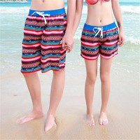 Mutilcolor Stripes Print Quick Dry Couple Beach Shorts 042212 DP B0616