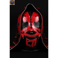 LA PARKA DEATH SKULL BLACK RED Lycra Mexican Wrestling Lucha Libre Mask Halloween Mask Costume - Mr. Maskman
