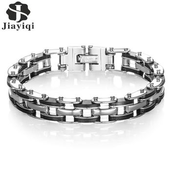 Jiayiqi Mens Bracelets Fashion Male Jewelry Bangles Silicone & Stainless Steel Bracelet Motorcycle Chain Link Men Armband