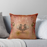 'Decorative dragon with floral elements' Throw Pillow by nicky2342