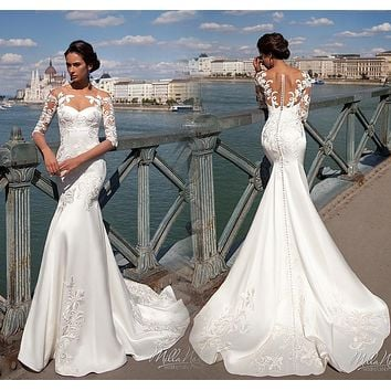 Robe de mariee Sexy Mermaid Wedding Dresses 2017 Illusion Neck Half Sleeves Court Train Appliques Satin Wedding Gowns 2016