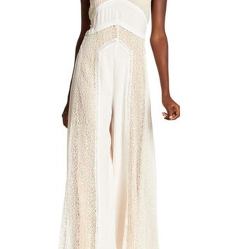 Free People | Halter Mock Neck Knit Trim Jumpsuit