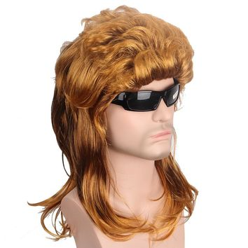 Gold Mullet Synthetic Hair Wig Natural Wave Brown Wig for Men USA Punk Hairstyle Joe Dirt