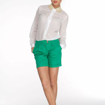 Bright Green Pants,Short Pants Shorts,Summer Autumn Pants,Shorts Classic Style,Office Clothes