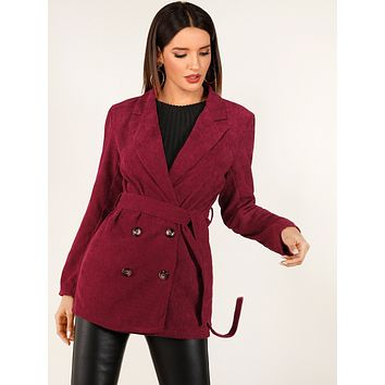 Lapel Double Button Belted Corduroy Blazer