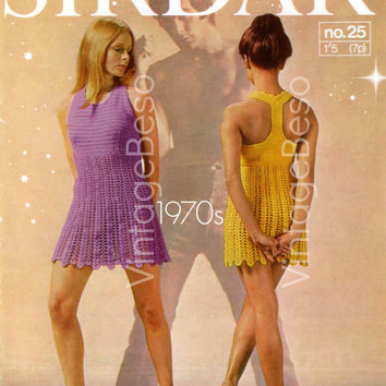 T-Back MOD Dress Crochet Vintage Pattern Clubbing Party Festival Summer Sirdar Racer Back Dolly Dress - Pdf Pattern - INSTANT Download