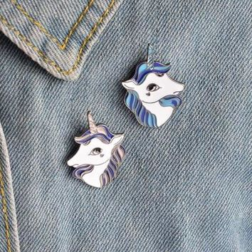 Unicorn Brooch Pins Button Metal Enamel Animal Horse Denim Jacket Collar Badge for Women Girl Men Forest Jewelry Gift
