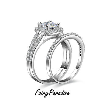 Bridal Wedding Ring Set:   1 Ct Princess Cut Man Made Diamond Split Shank Halo Engagement Ring / Promise Ring + half eternity band