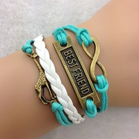 Antique Charm leather best friend giraffe retro romantic colorful Infinity Bracelet = 1932854788