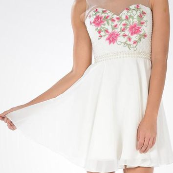 white floral short homecoming dress  # poly 7854