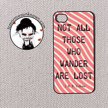 iPhone Case Phone Case / Fits Iphone 4, 4S (90043) Not all those who wander are lost quote geometric pattern