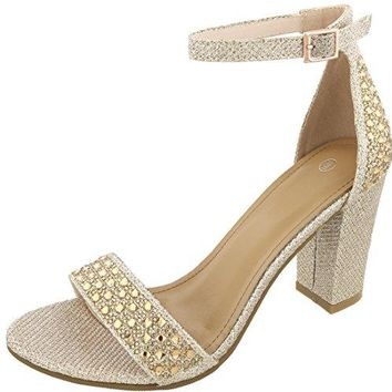Cambridge Select Womens Open Toe Single Band Glitter Crystal Rhinestone Buckled Ankle Strappy Chunky Block Heel Sandal