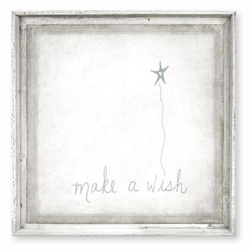 Rustic Framed Canvas Art - Make A Wish - Rustic Antique White Finish 12x12