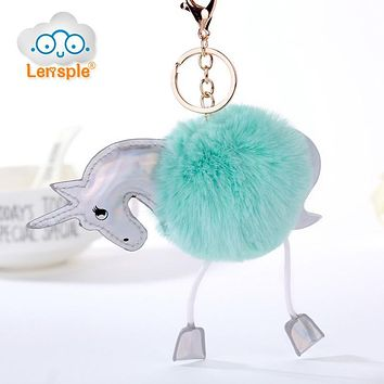 Lensple Hot Sale Colorful Unicorn Plush Hanging Pendant Cute Fluffy Rabbit Fur Keychain Ring Doll Toy For Women Bag Kids Gift