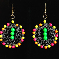 Wire Crocheted Neon Beaded Dangle Earrings