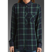 Rails Cameron Suede Plaid Button Down in Navy/Green/Yellow