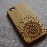 Bamboo iphone 5 case,Wood iPhone 5s case,iPhone case with Sunflower