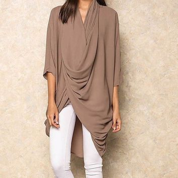 The Cape Layered Drape Tunic - Mocha