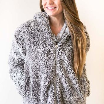 Candy Paint Sherpa Hoodie with Zipper - Grey