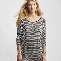 3/4 Sleeve Striped Boxy Tunic -
