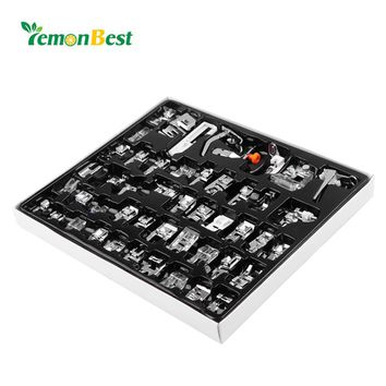 LemonBest 48pcs Domestic Sewing Machine Presser  Foot Feet Kit Set Hem Foot Spare Parts Accessories for Brother Singer