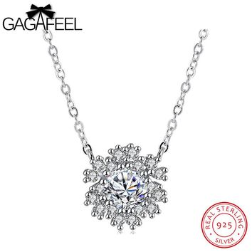 GAGAFEEL Real Silver 925 Jewelry Snowflake Necklaces Pendant For Women Chain Cubic Zircon Choker Necklace Gifts For Girls Lady