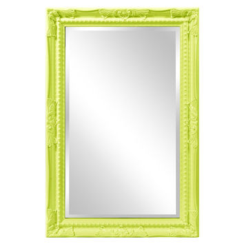 "Howard Elliott Queen Ann Rectangular Glossy Green Mirror 24"" x 36"" x 1"""