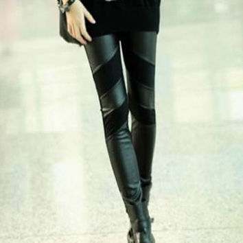 Black PU Leather Wrap Leggings
