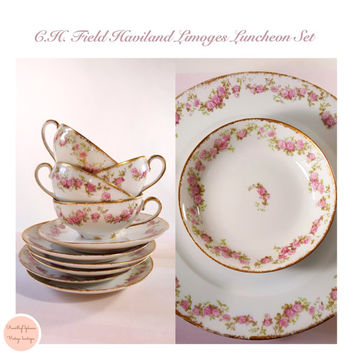 Haviland Limoges Teacups , Bowls &  Plates 21 Pieces China Set C.H. Field  / Vintage Teacups / Vintage China Set / Vintage China