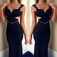 Sexy Mermaid Princess Backless Maxi Black Evening Dress