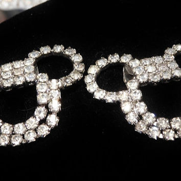 Vintage Shoe Clips Mid Century Pair Rhinestone Shoe Clips 1950s Wedding Bride Bridal Hollywood Evening Glam Shoe Accessories Dressy