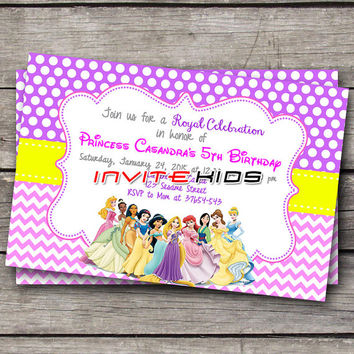PrincessDisney All Character Castle - Invitation Card - Birthday Party Kids - InviteKids