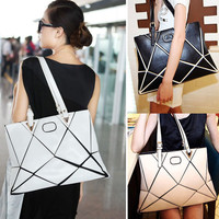 Fashion Womens Diamond Shaped Design Leather Tote Handbag Shoulder Bag Shopper