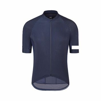 2017 New Navy vertical stripe Gentleman Cycling Jersey Short Sleeve road race cycling gear High visibility at sleeve