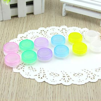 Random Color Portable Plastic Contact Lens Box Holder Small Lovely Candy Color Eyewear Bag Container Contact Lenses Soak Stora