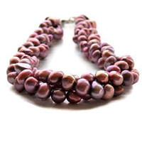 Multistrand Freshwater Pearl Necklace, Twisted, Blush Pink, Rose