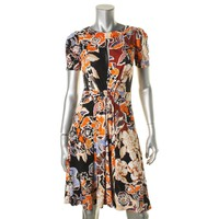 Just Cavalli Womens Printed Short Sleeves Party Dress