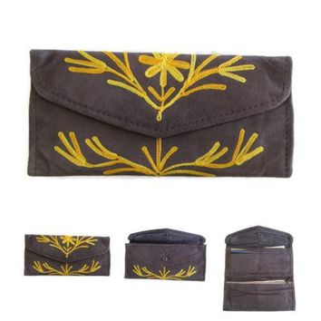Women Envelope Leather Wallet With Card Holder Embroidered Purse HANDMADE