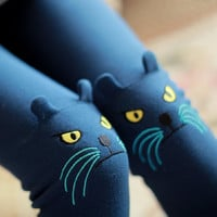 Kitty Cat Knee Embroidered Detail Animal Themed Leggings in Dark Blue