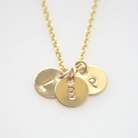 Teeny tiny 3 initial disc necklace - gold