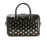 SAINT LAURENT BLACK LEATHER STUDDED ON THE FRONT MINI DUFFLE BAG