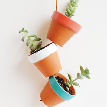 "Desert Colors Tiny Hand Painted Terracotta Planter. Hanging 2"" Mini Clay Pots. Terra Cotta Plant Home Decor. Featured on Apartment Therapy."